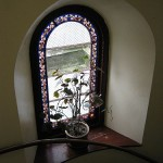 Gaia House Interior stained-glass window